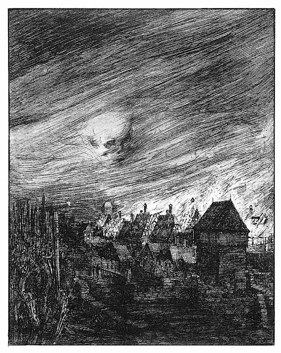 a Joseph Sattler illustration of a village fire with a giant skull in the sky