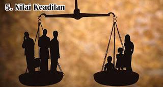 Nilai Keadilan merupakan salah satu nilai yang terkandung dalam Pancasila