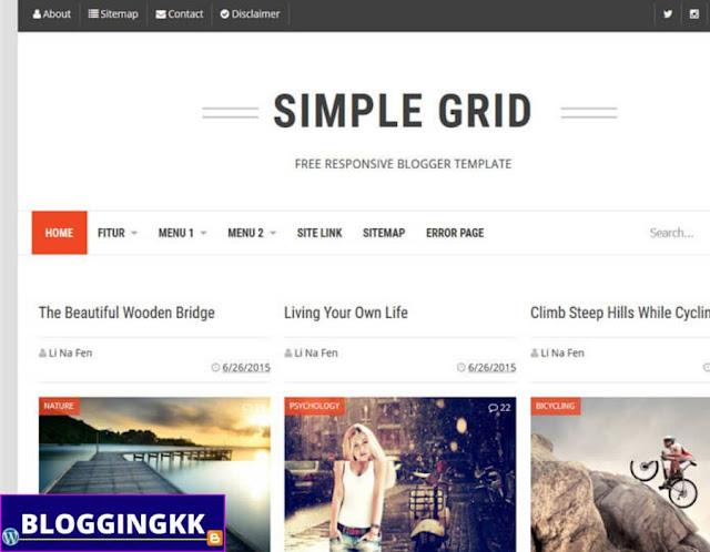 4. Simple grid Blogger Theme