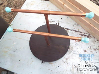 copper pipe lazy susan jewelry holder