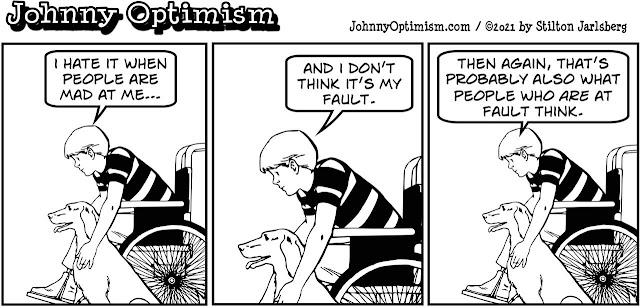 johnny optimism, medical, humor, sick, jokes, boy, wheelchair, doctors, hospital, stilton jarlsberg, mad, guilt, headache, nap, lie, caught in the middle, anxiety, injustice