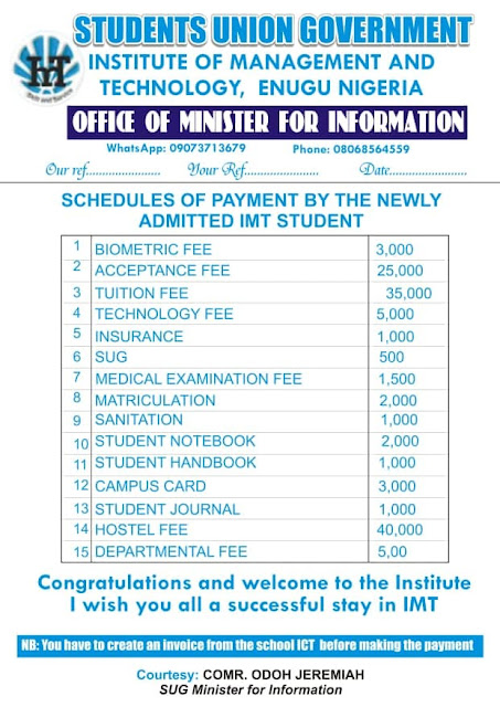 IMT School Fees Schedule 2019/2020 [Freshmen]