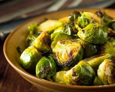 Fast Pan-Roasted Brussels Sprouts, another basic vegetable cooking technique ♥ AVeggieVenture.com.