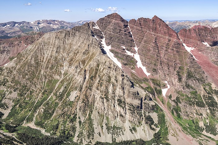 The Maroon Bells from the summit of Colorado 14er Pyramid Peak