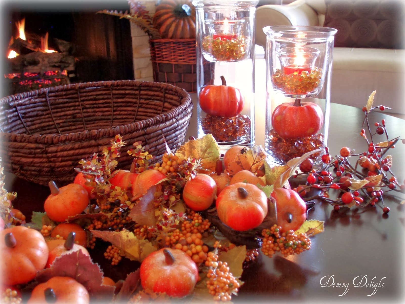 Dining delight fall coffee table centerpiece for Fall table