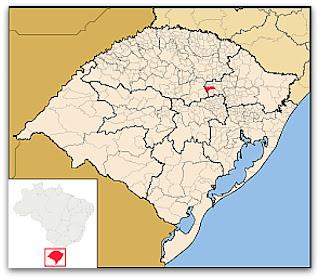 Cidade de Arvorezinha, no mapa do Rio Grande do Sul