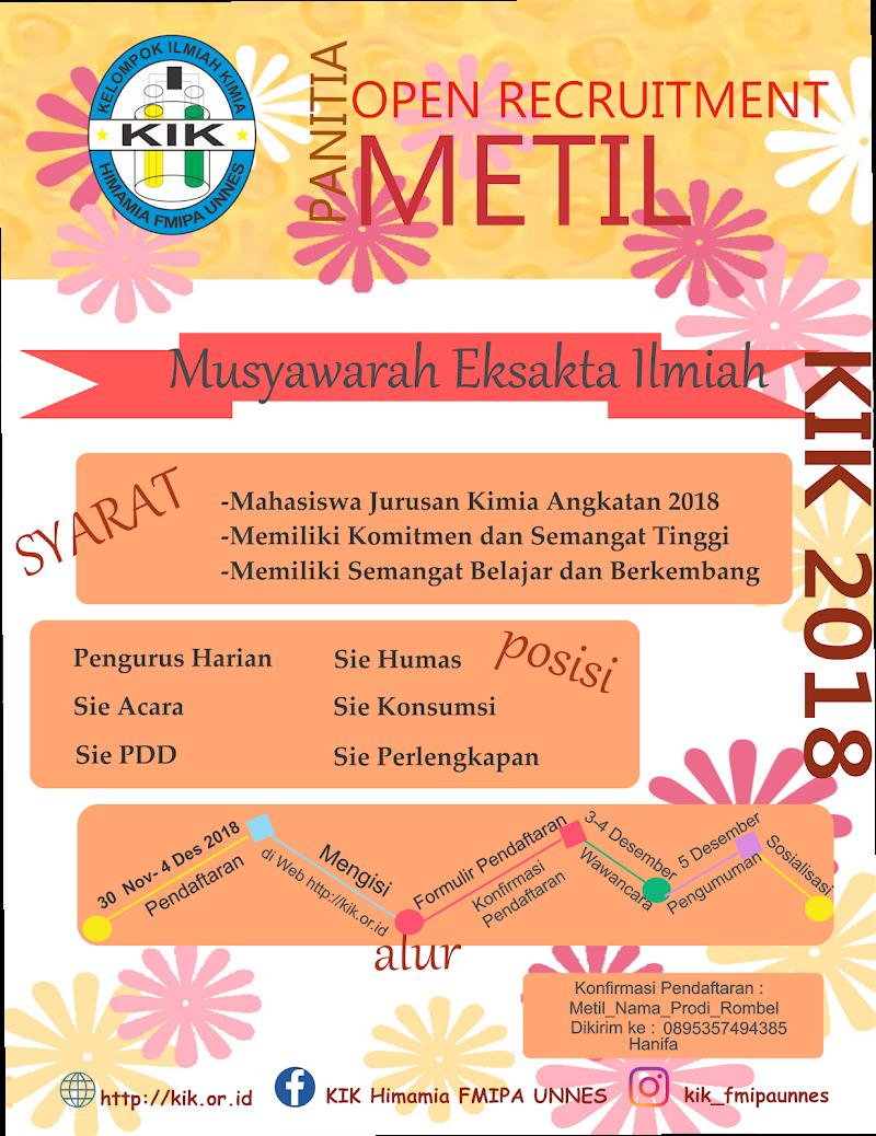 Open Recruitment Panitia Musyawarah Eksakta Ilmiah Kelompok Ilmiah Kimia 2018