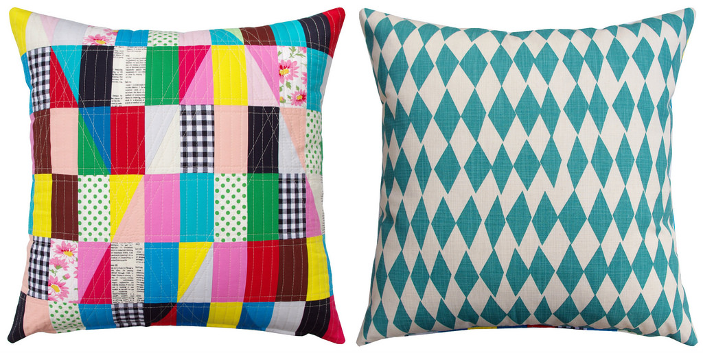 Modern Triangles (front and back) - Patchwork Pillow by Red Pepper Quilts