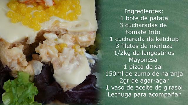 Ingredientes pastel frío de merluza y langostinos