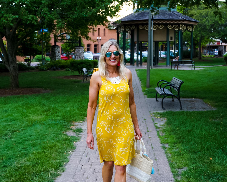 Yellow Printed Summer Sundress