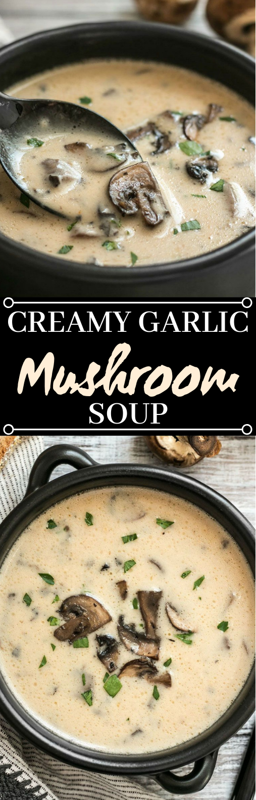 Creamy Garlic Mushroom Soup #vegetarian #soup