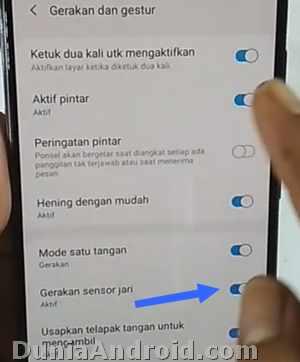 Fungsi gesture fingerprint A20 Samsung