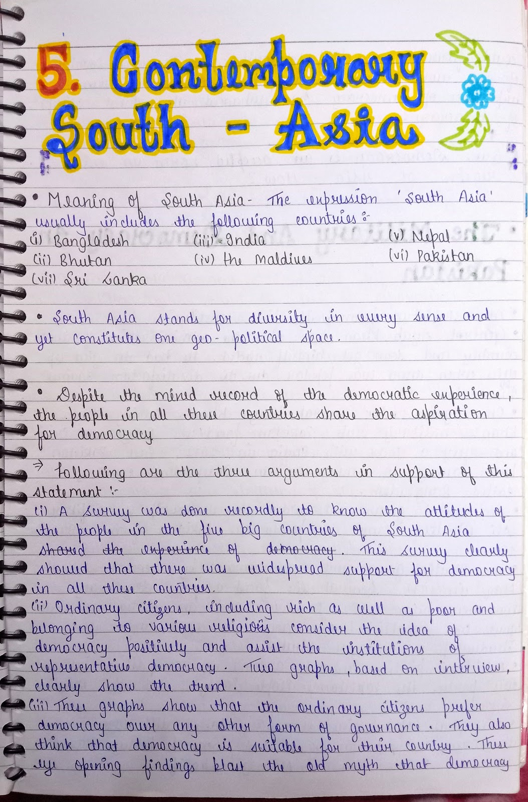 notes science political class handwritten 12th humanities asia contemporary south