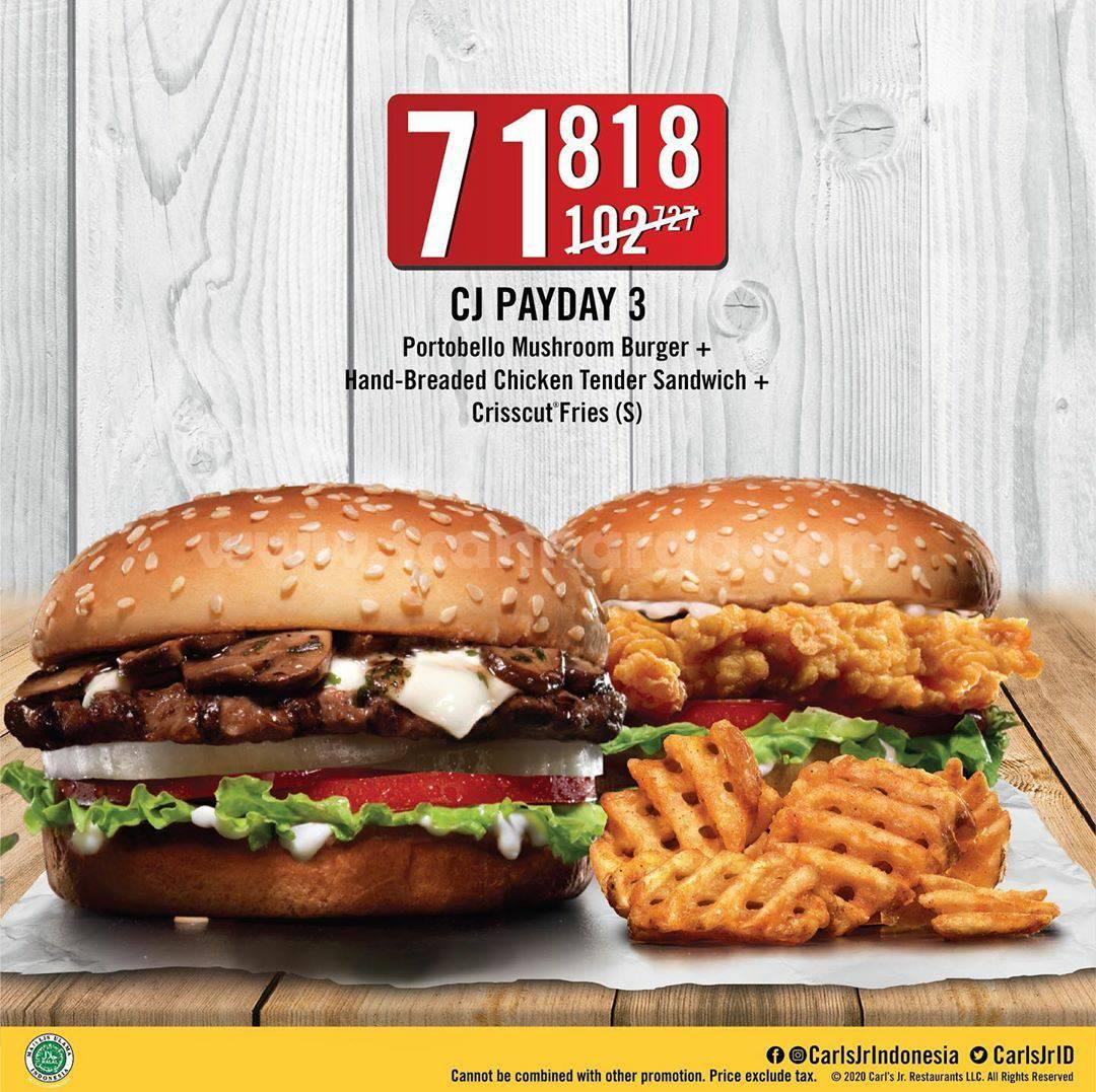 Promo CARL'S JR Paket CJ Payday harga serba Rp 71.818 untuk Pemesanan via Grabfood