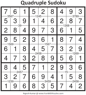 Answer of Quadruple Sudoku Puzzle (Fun With Sudoku #338)