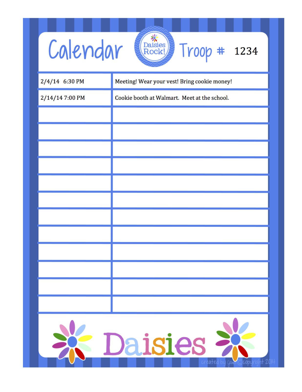 my fashionable designs girl scouts daisies calendar word format. Black Bedroom Furniture Sets. Home Design Ideas