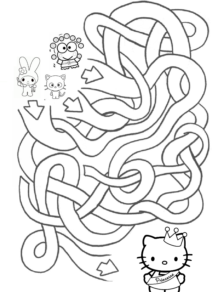 3d coloring pages by hello kids | Aprende Brincando: Labirintos da Hello Kitty