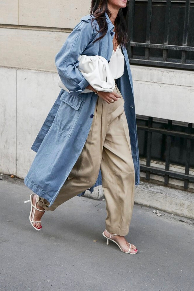 Stylish Spring Outfit — Denim Trench Coat, White Cami Top, Khaki Panta, Bottega Veneta Pouch, and White The Row Sandals