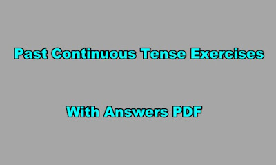 Past Continuous Tense Exercises With Answers PDF