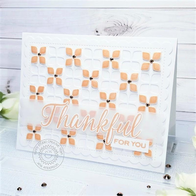 Sunny Studio Stamps: Frilly Frames Retro Petal Dies Frilly Frames Hexagon Dies Elegant Leaves Thank You Card by Ana Anderson