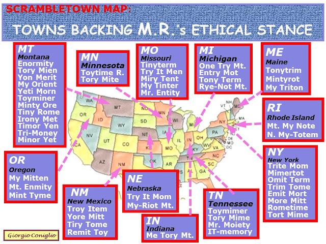 wordplay maps; anagrams; American politics; Mitt Romney; political parties; postal abbreviations
