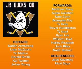 Jr. Ducks U15 AAA Roster