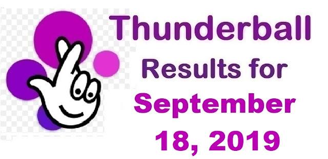 Thunderball results for Wednesday, September 18, 2019