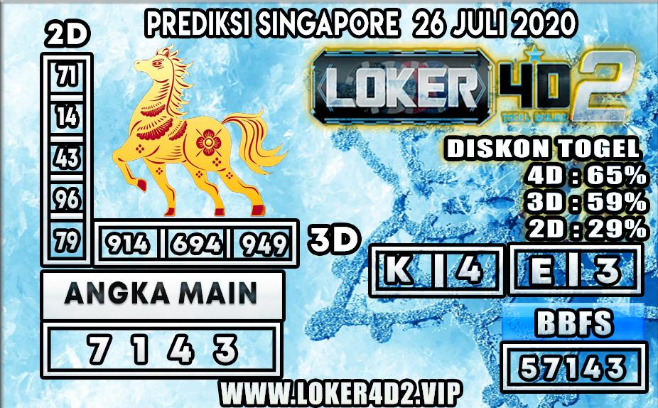 PREDIKSI TOGEL LOKER4D2 SINGAPORE 26 JULI 2020