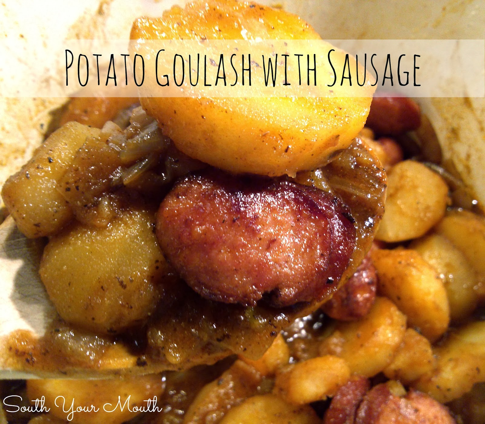 Hungarian goulash with potatoes and smoked sausage.