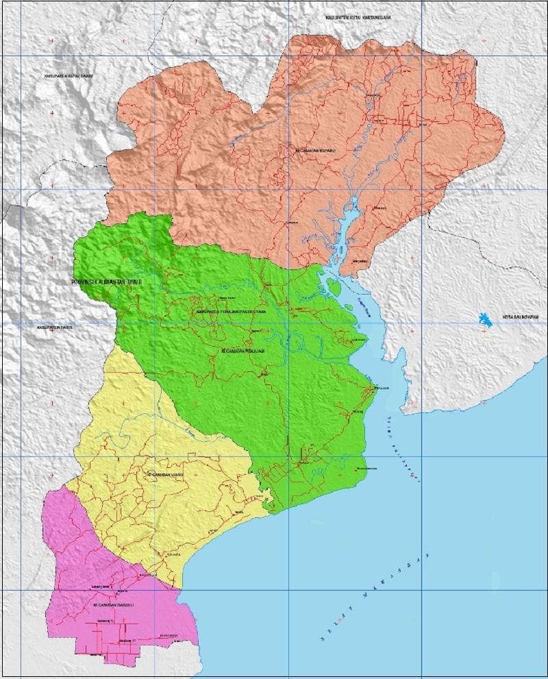 Peta Kabupaten Penajam Paser Utara