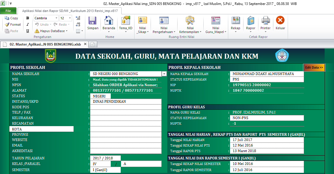 Aplikasi Nilai Dan Rapor K 2013 Sd Revisi 2017 Dengan Kd Terbaru Dokumen Kurikulum 2013 Revisi Terbaru