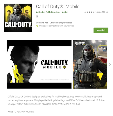 This the image of Call of Duty game took from the play store web version