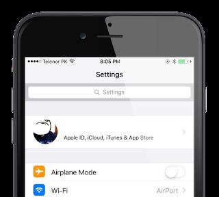 Settings App iCloud