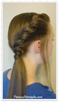 Side twist ponytail hairstyle tutorial. Cute and easy.