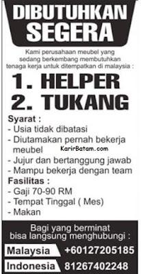 Lowongan Kerja Perusahaan Meubel Malaysia