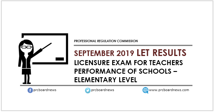 September 2019 LET results Elementary: performance of schools