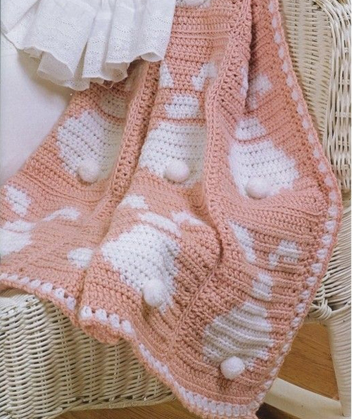 Beautiful Skills Crochet Knitting Quilting Babys Bunny Afghan