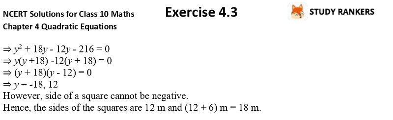 NCERT Solutions for Class 10 Maths Chapter 4 Quadratic Equations Exercise 4.3 Part 8