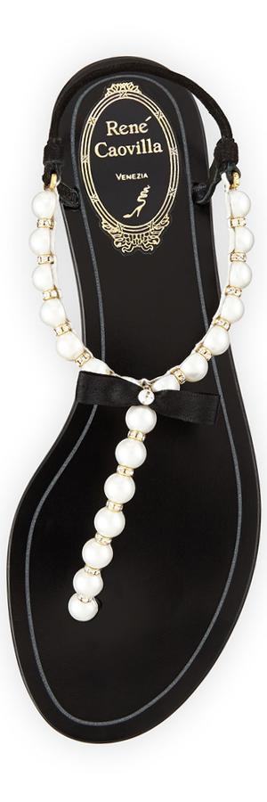 RENE CAOVILLA Pearly & Crystal Flat Thong Sandal