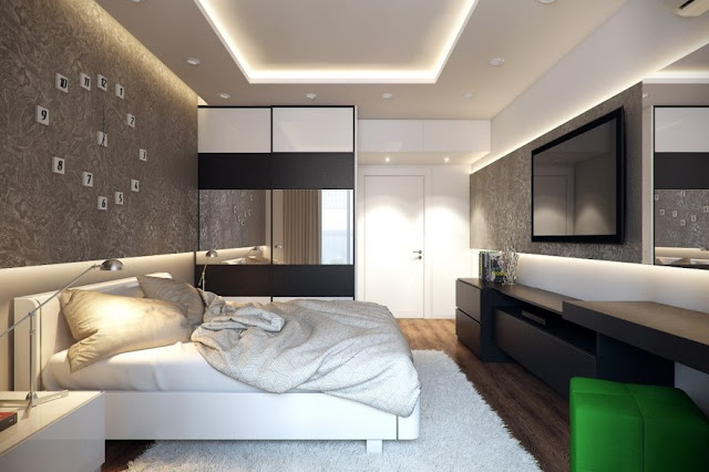 The bedroom combines two design styles