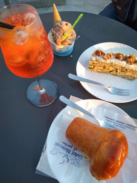 Babà, gelato, almond cake, and Aperol in Pozzuoli, Italy