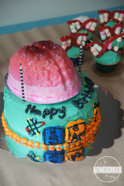 science birthday party cake