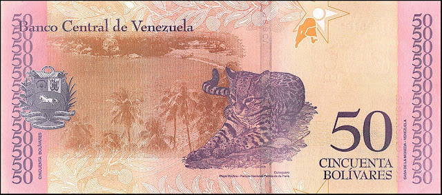 Venezuela Currency 50 Bolivares Soberanos banknote 2018 Ocelot Leopardus