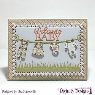 Stamp/Die Duos: Baby Clothesline Custom Dies: Baby Blessings, Clouds & Raindrops, Lavish Layers, Pierced Rectangles, Grass Lawn Paper Collection: Baby Girl