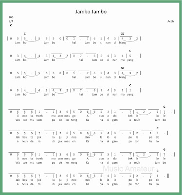 not angka lagu jambo jambo lagu daerah aceh