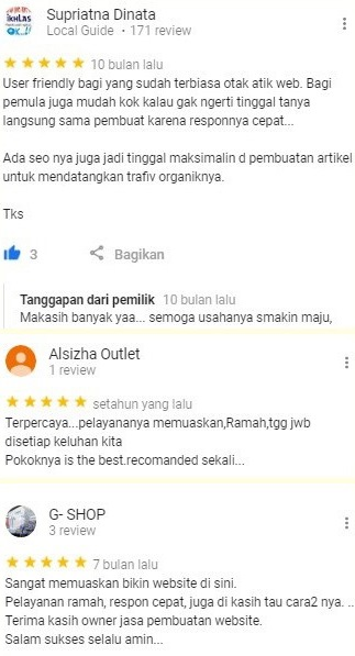 Jasa Buat Toko Online Testimoni 1