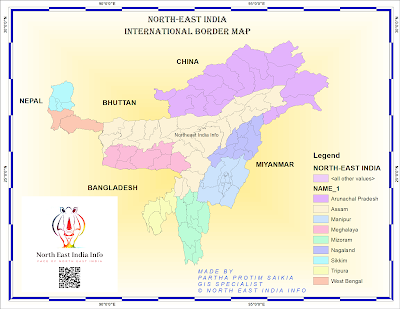 Northeast India International Border Map