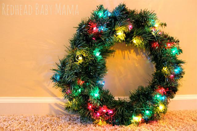 pre lit christmas wreath - Redhead Baby Mama