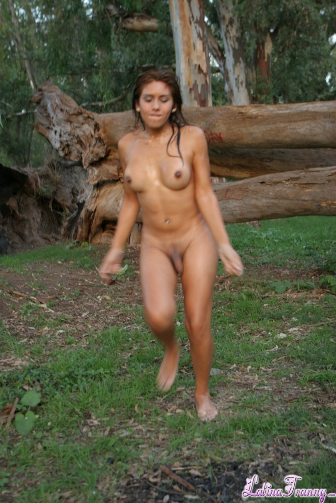 Stripped nude in the forest