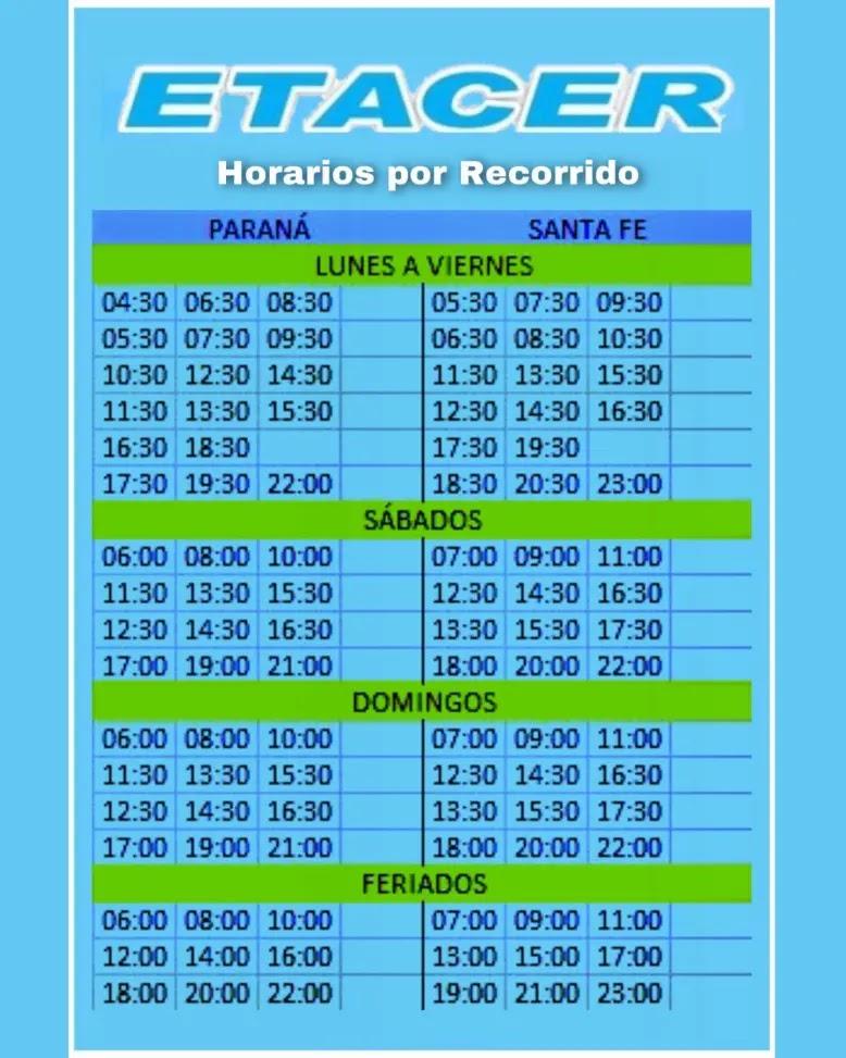 Horarios Etacer Santa Fe - Parana